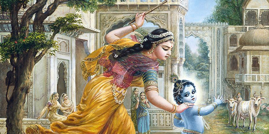 Mother Yashoda tries to catch Krishna