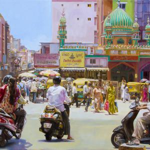 Street scene in Bangalore with a mosque.