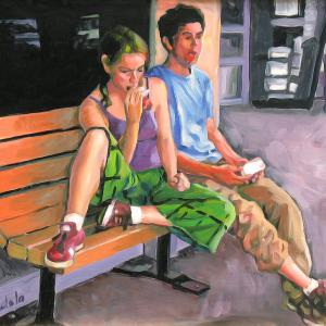 A young man and a young woman are sitting on a bench enjoying an ice cream bar.