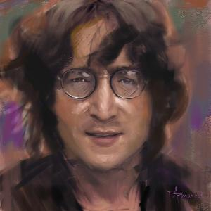 Portrait of John lennon in colorful and bold strokes, in a contemporary style.