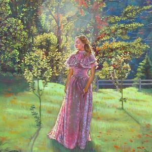 A young lady in a purple lace dress is walking in a park in the morning light.