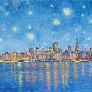 An impressionist version of San Francisco at night in the Van Gogh style