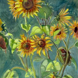 Some large sunflowers growing in a garden are painted against a leafy background