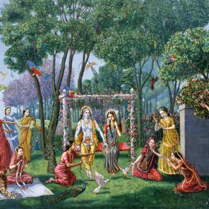 Radha and Krishna, are sitting on a beautiful swing.
