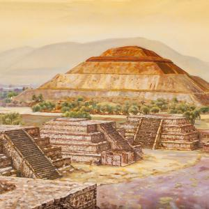 An aztec pyramid is seen in a sunset sky with other stone structures