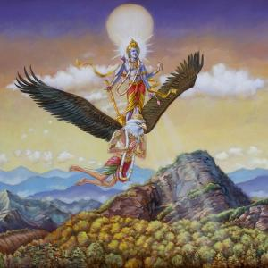A human-like eagle with a crown is carrying Lord Vishnu on his back.
