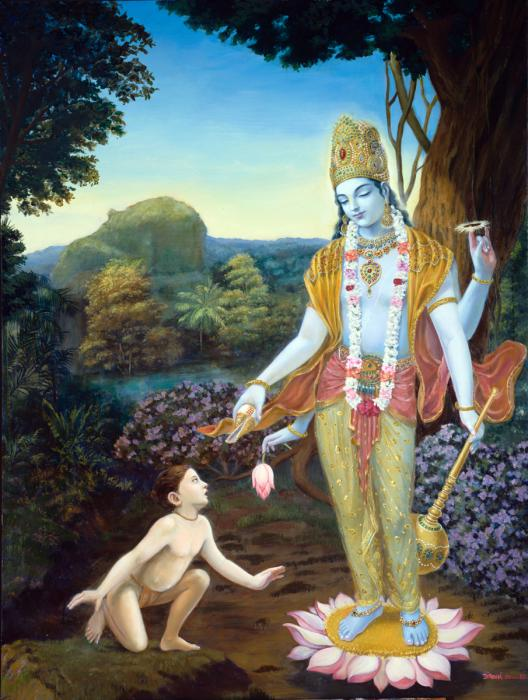 Dhruva Maharaja is kneeling at the feet of Lord Vishnu in the forest.