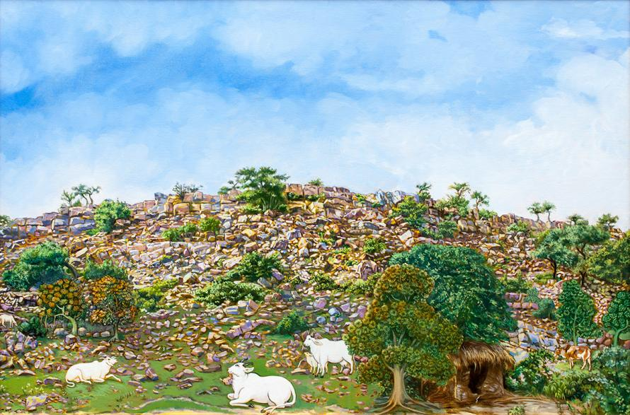 Simple representation of Govardhan Hill in North India