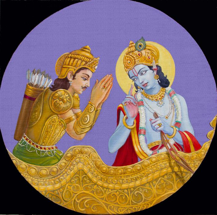 Arjuna is listening to Krishna.