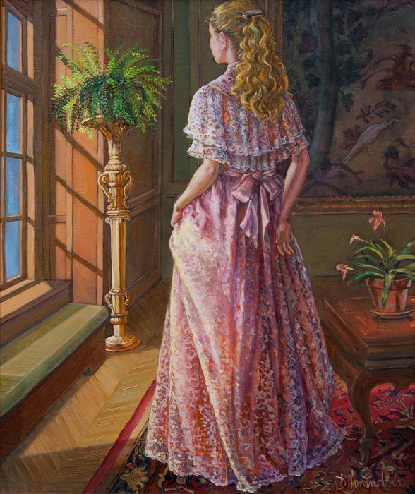 A girl is gazing through the window. She is wearing a laced and pink dress.