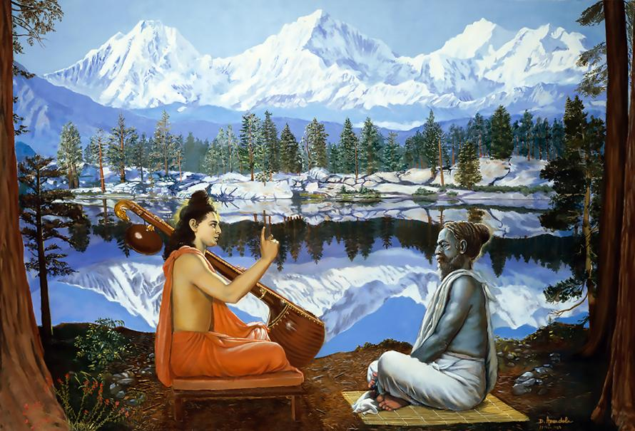 The sage Narada who carries a vina is instructing the sage Vyasa in the Himalaya