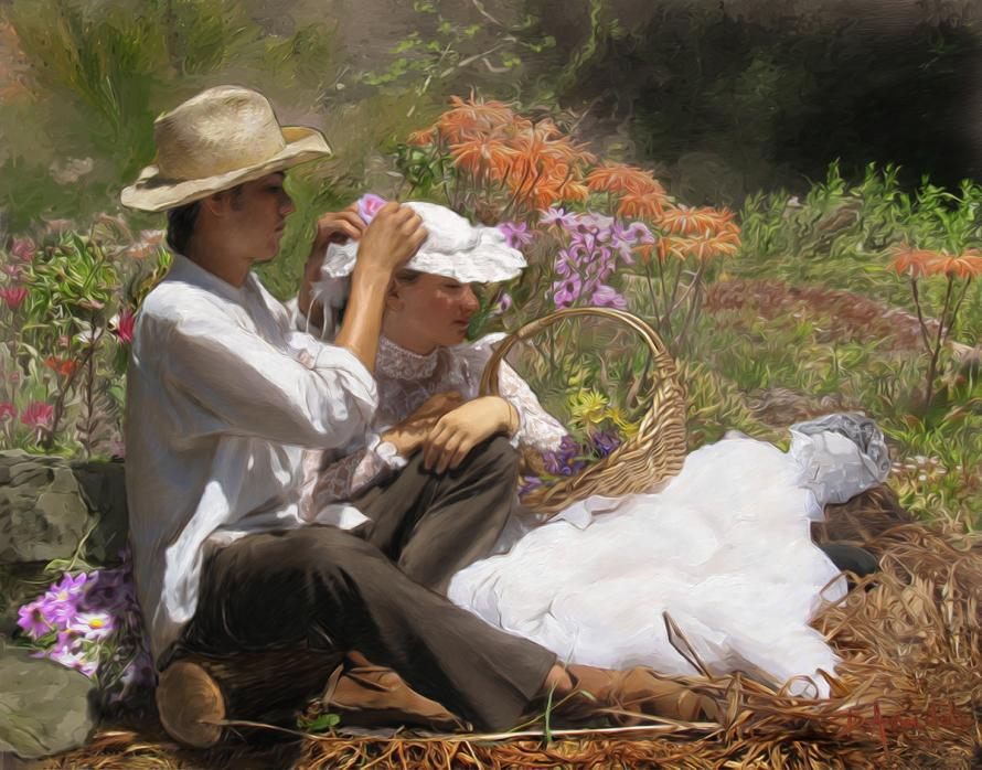 two lovers are sitting on the grass among many flowers.
