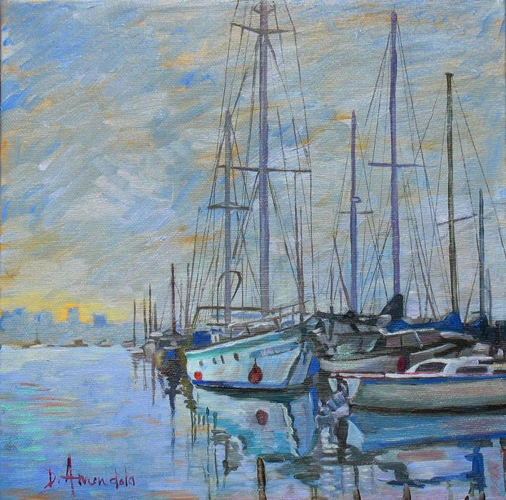 Some sailboats in bluish colors are resting in an harbor.