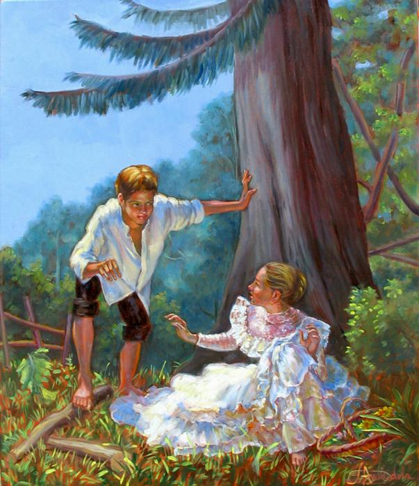 a young boy is surprising a young lady resting in nature