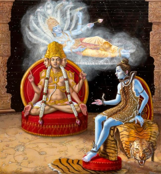 Brahma is explaining the Vedas to Shiva by taking inspiration from Vishnu